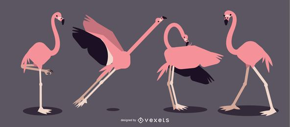 Flamingo Rounded Flat Geometric Design