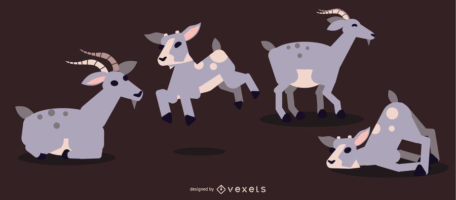 Goat Rounded Flat Geometric Design