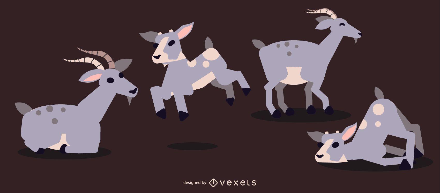 Diseño geométrico plano redondeado de cabra