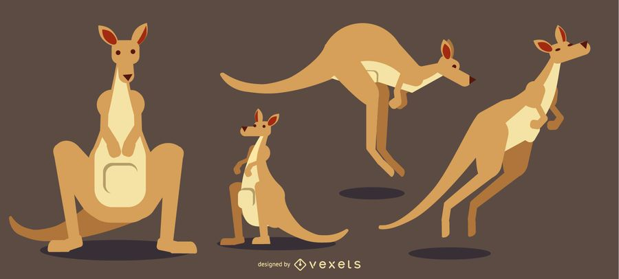 Kangaroo Rounded Flat Geometric Design