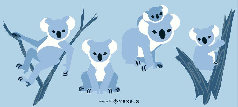 Koala redondeado diseño geométrico plano