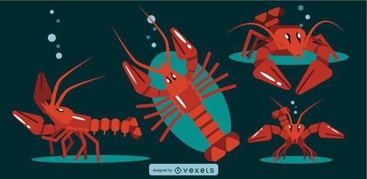 Desenho geométrico plano arredondado da lagosta