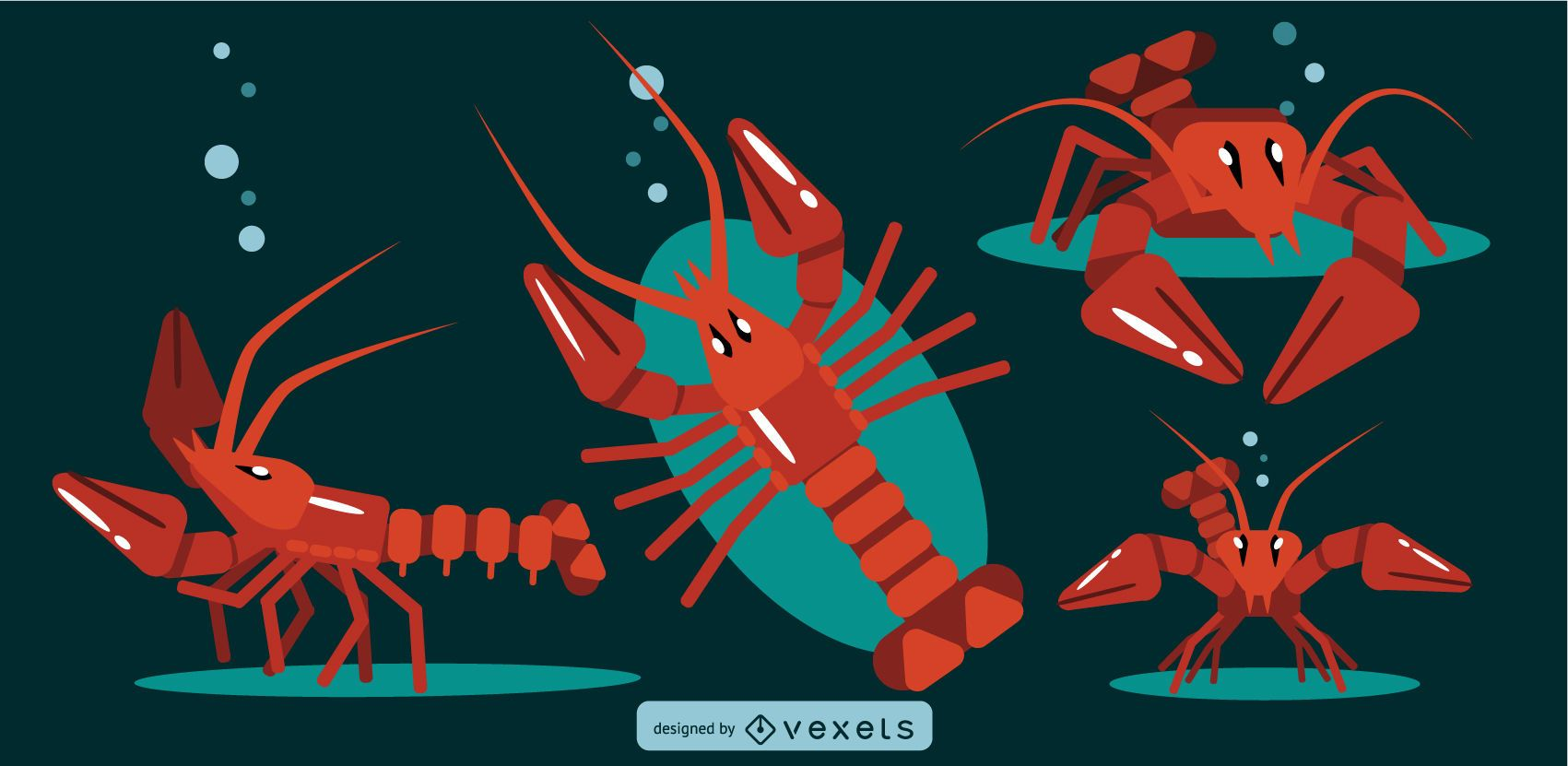 Lobster Rounded Flat Geometric Design