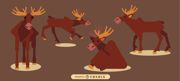Moose Rounded Flat Geometric Design