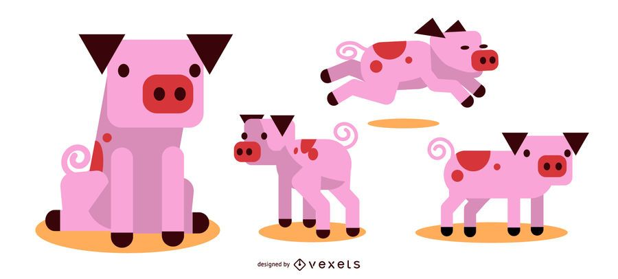 Pig Rounded Flat Geometric Design