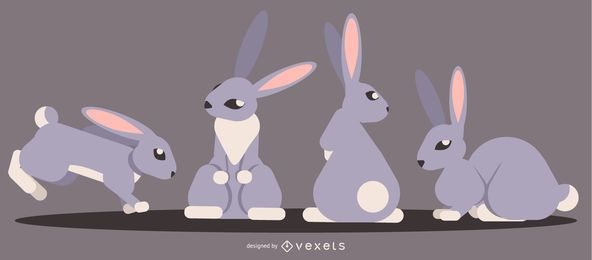 Rabbit Rounded Flat Geometric Design