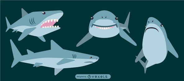 Tiburón redondeado diseño geométrico plano