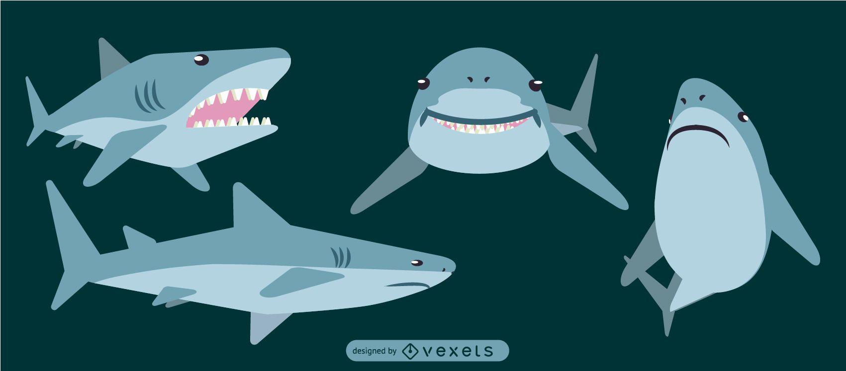 Diseño geométrico plano redondeado de tiburón