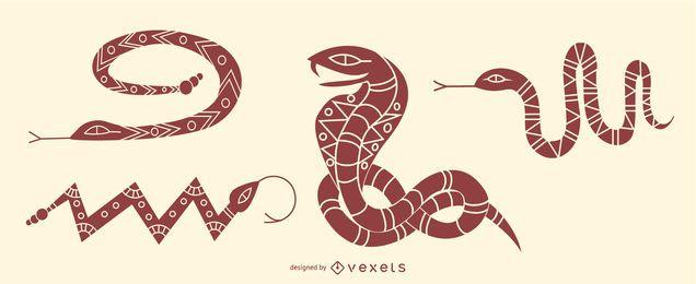 Elegante conjunto de serpientes