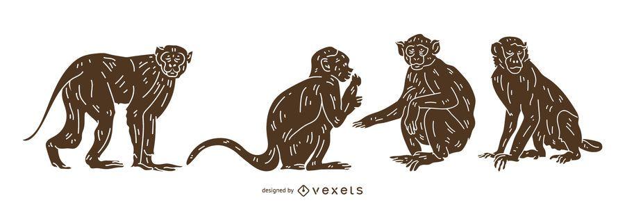 Macaco detalhado silhueta Design