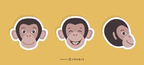 Conjunto de pegatinas de mono