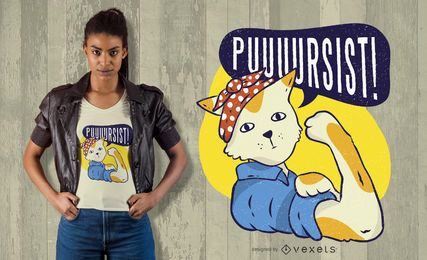 Diseño de camiseta de gato pin-up