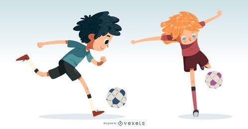 Conjunto de vectores de niños de fútbol