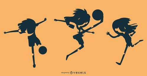 Conjunto de silhueta de menina de futebol