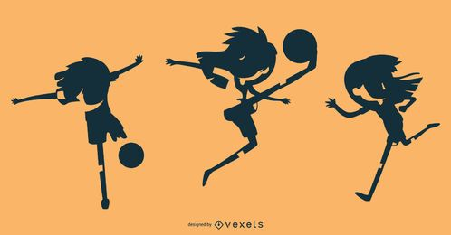 Conjunto de silueta de chica de fútbol