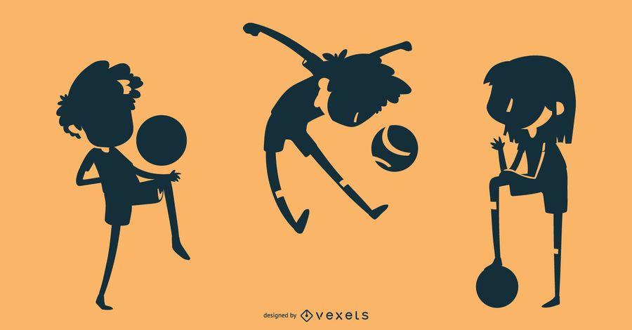 Soccer kids silhouette set