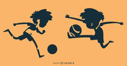 Soccer boy silhouette set