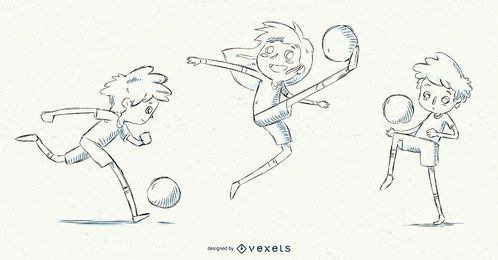 Hand drawn soccer kids set