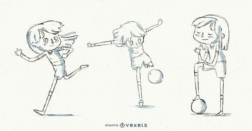 Conjunto de chica de fútbol dibujado a mano