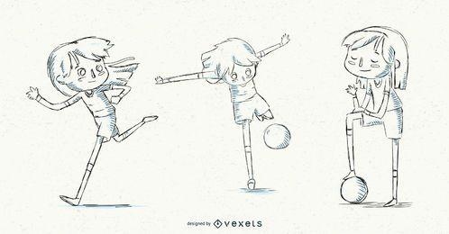 Conjunto de garota de futebol de mão desenhada