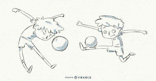 Conjunto de niño de fútbol dibujado a mano