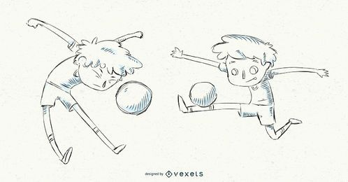 Hand drawn soccer boy set