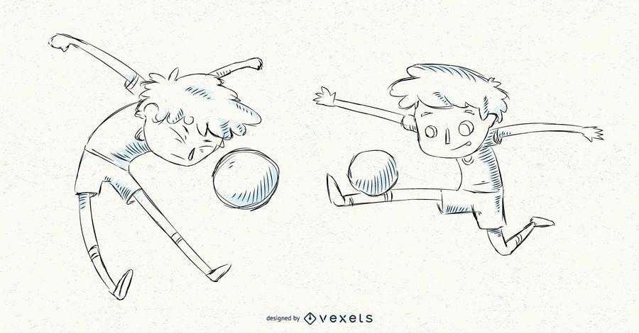 Conjunto de menino de futebol de mão desenhada
