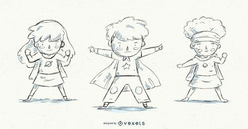 Conjunto de niños superhéroes dibujados a mano