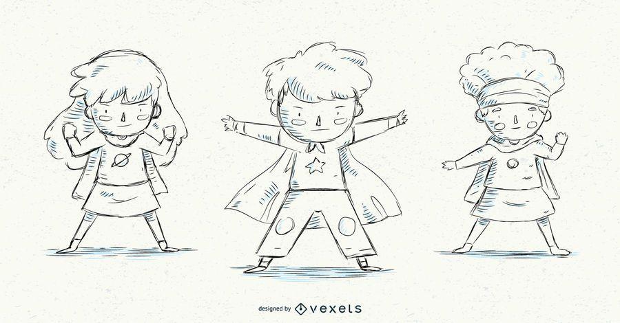 Hand drawn superhero kids set