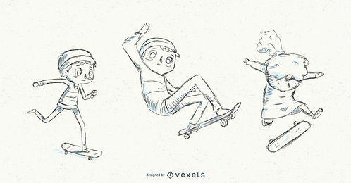 Hand gezeichnete Kinder, die Skateboard fahren