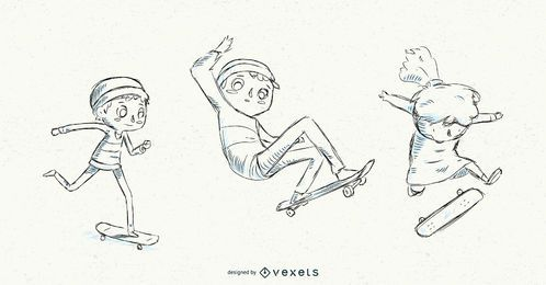 Niños dibujados a mano en patineta