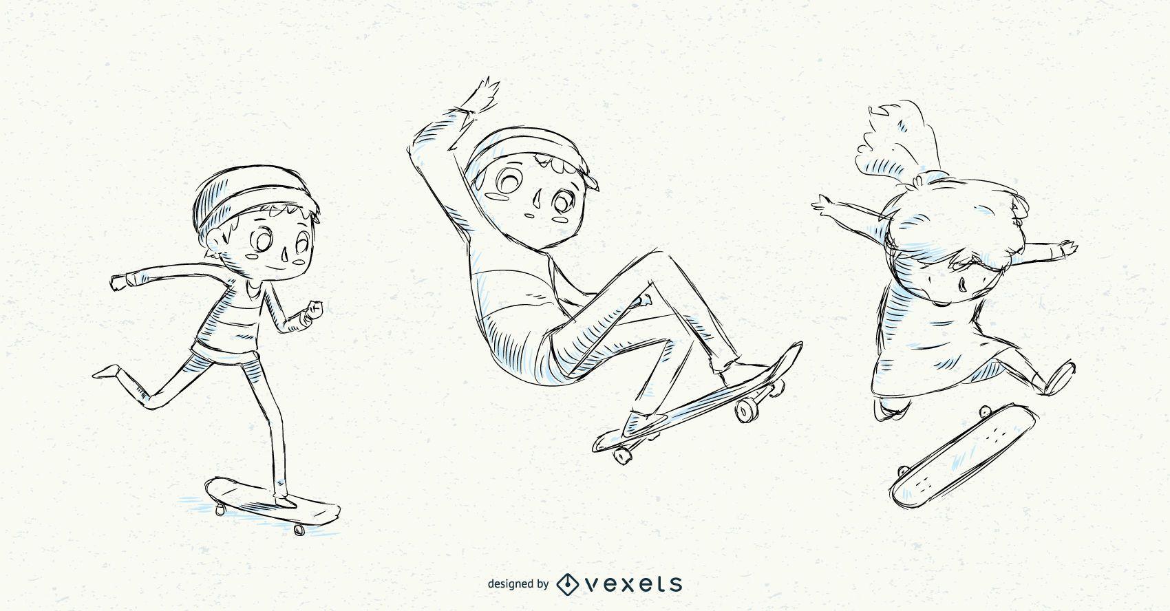 Hand drawn kids skateboarding