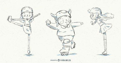 Dibujado a mano patines para niños