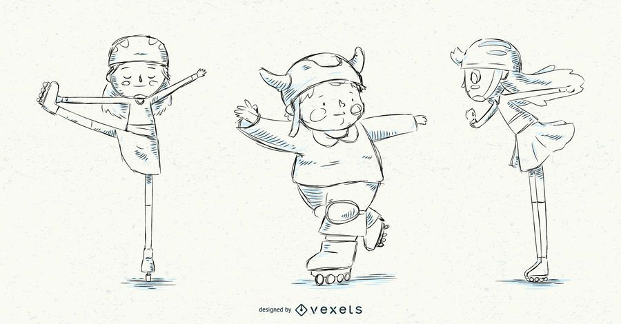 Hand drawn roller skate kids