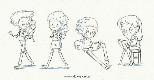 Conjunto de crianças de escola de mão desenhada