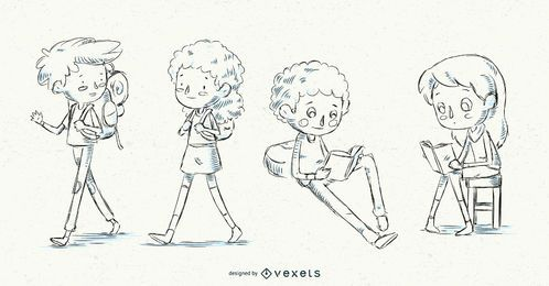 Conjunto de niños de escuela dibujados a mano