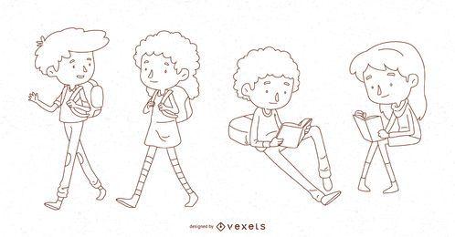 Conjunto de caracteres de línea de niños de escuela