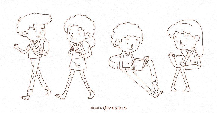 School kids line character set