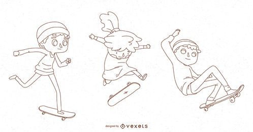 Line kids skateboarding vector set