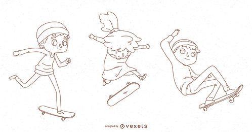 Línea niños skateboarding vector set