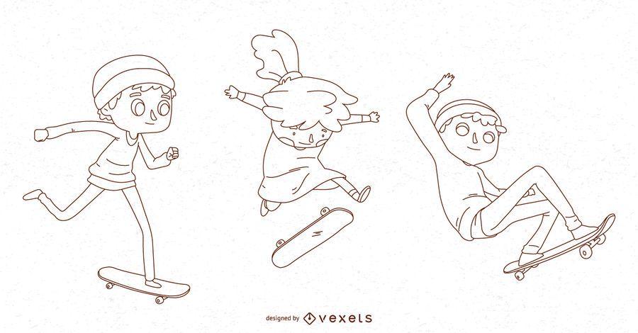 Line kids skateboarding vector set