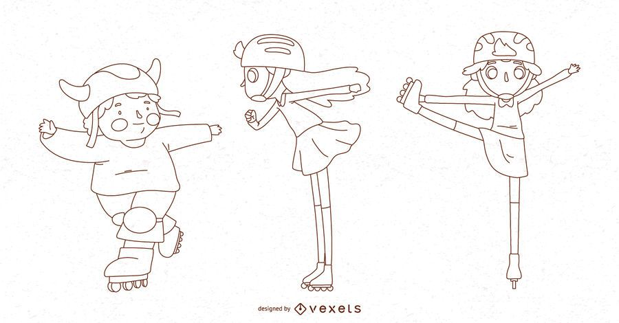 Roller skate kids line characters