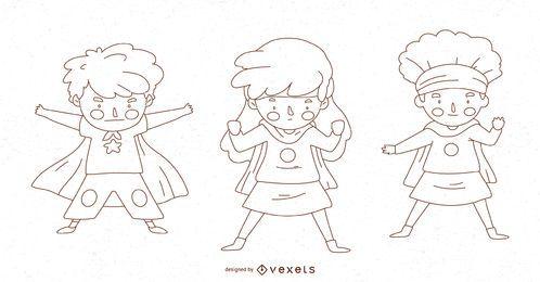 Conjunto de caracteres de línea de niño superhéroe