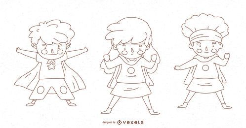 Conjunto de caracteres de linha de garoto super-herói