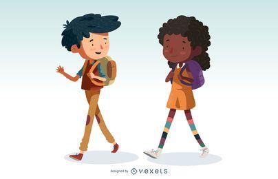 Crianças, andar, caricatura, jogo