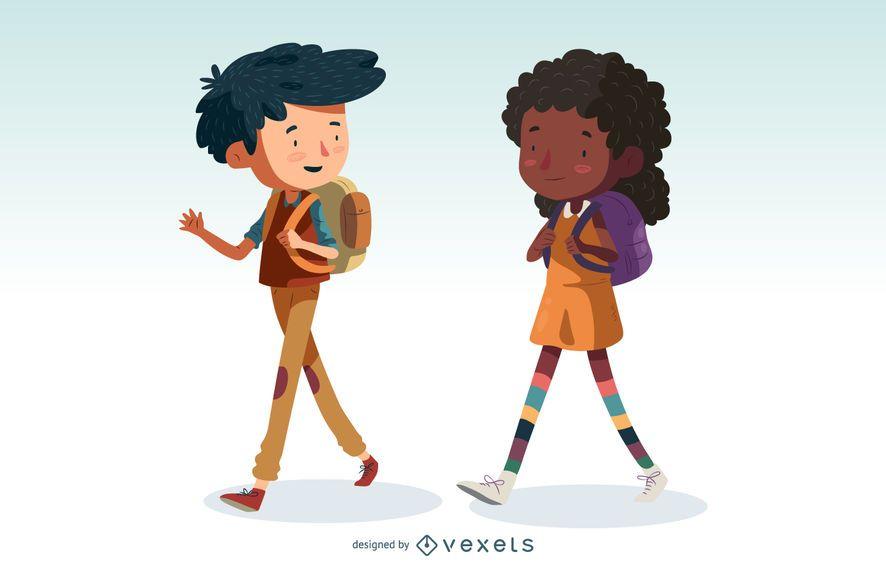 Niños caminando conjunto de dibujos animados