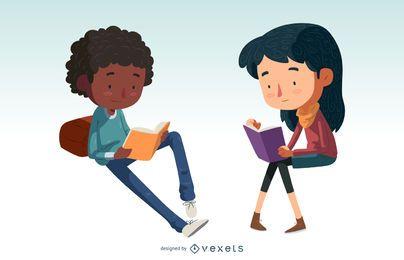 Niños leyendo conjunto de caracteres