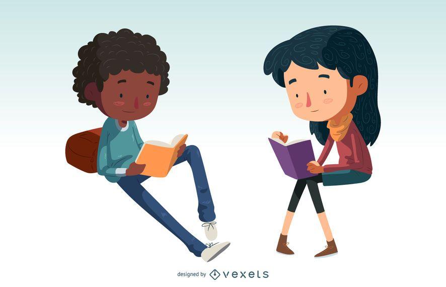Niños leyendo el conjunto de caracteres