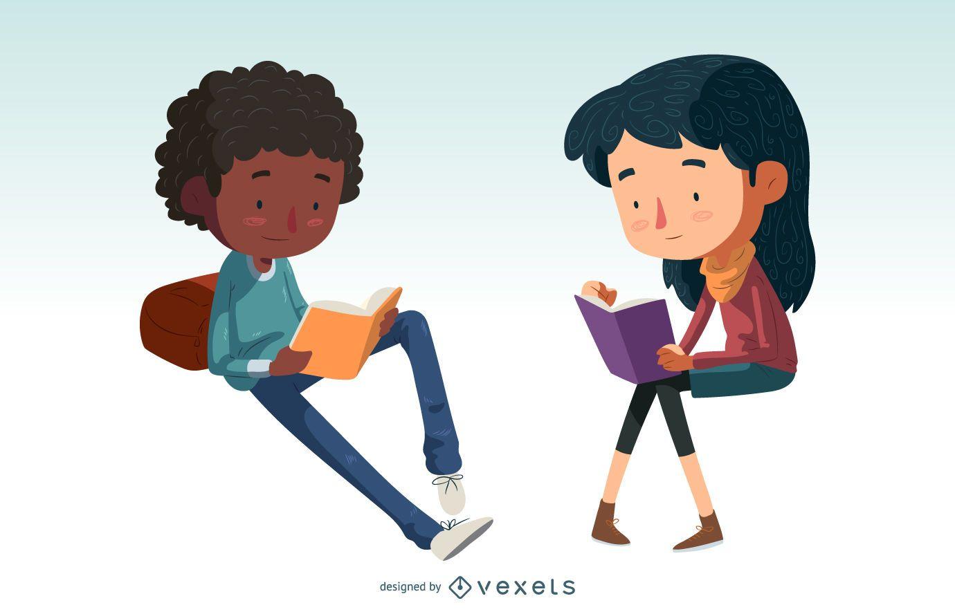 Kids reading character set