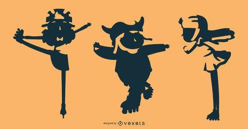 Conjunto de silueta de niños de patín de ruedas